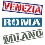 Venezia roma milano — Stock Vector