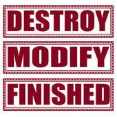 Destroy modify finished set stamp — Stock Vector