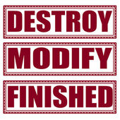 Destroy modify finished set stamp — Stock Vector