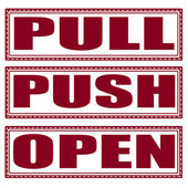 Pull push open set stamp — Vettoriale Stock