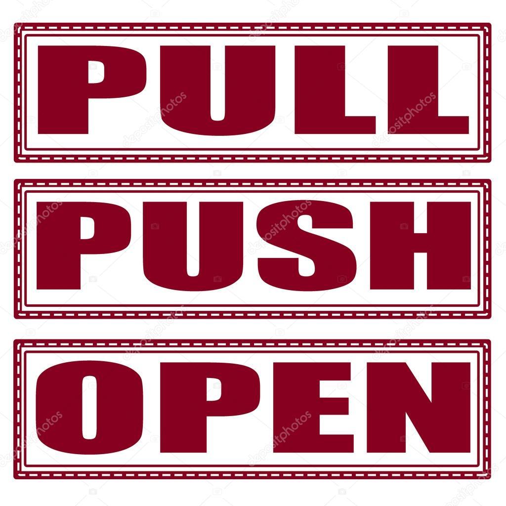 pull push open set stamp stock vector lauraluchi 44029891. Black Bedroom Furniture Sets. Home Design Ideas
