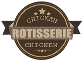 Rotisserie chicken stamp — Stock Vector