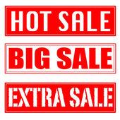 大売り出し、熱い販売、追加販売スタンプ — ストックベクタ
