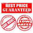 Best price guaranteed , save money , low rates stamp — Stock Vector #48324105