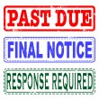 Past due, final notice, response required set stamp — Stock Vector #48794091