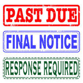 Past due, final notice, response required set stamp — Stock Vector