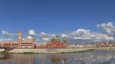 Riverbank in Yoshkar-Ola, Russia — Stok video