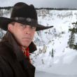 Cowboy in winter — Stock Photo