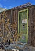Green door of abandoned cabin — Stock Photo