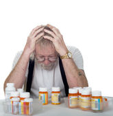 Senior with too many prescriptions — Stock Photo