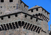 The medieval castle of Fenis in the Aosta valley in Italy — Stock Photo