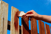 Painting wooden fence — Stock fotografie