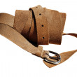 Closeup view of suede rolled belt — стоковое фото #32129311