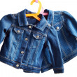 Denim child  jackets on a white  background — Zdjęcie stockowe