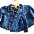 Denim child  jackets on a white  background — Stok fotoğraf
