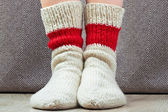 Clouseup pair wool knitted socks — Stock Photo