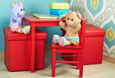 Funny Teddy Bears seat  in the nursery — Zdjęcie stockowe