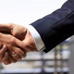 Business handshake  between businessman and businesswoman — Stock Photo #46431059