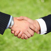 Close-up image of a firm handshake  between two colleagues outsi — Stockfoto
