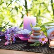 Massage in the bamboo garden with violet flowers, candles — Foto de Stock
