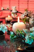 キャンドル ・ カラーセラピーとアーモンドの花 — ストック写真
