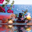 Candles - black stones and tiare - Bougainvillea on water — Stock Photo #30579395