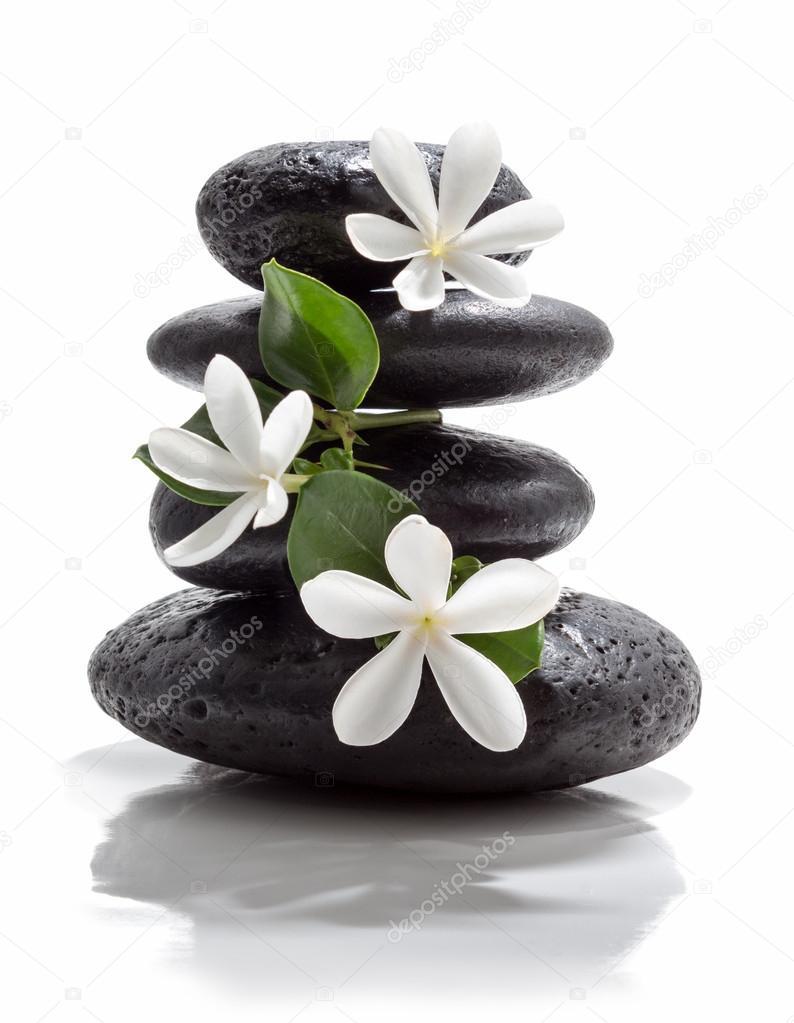 spa pierre de tiare fleurs noir photographie rfphoto 30597439. Black Bedroom Furniture Sets. Home Design Ideas