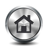 Round metallic button - home — Stock Photo