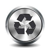 Round metallic button - recycling — Stock Photo