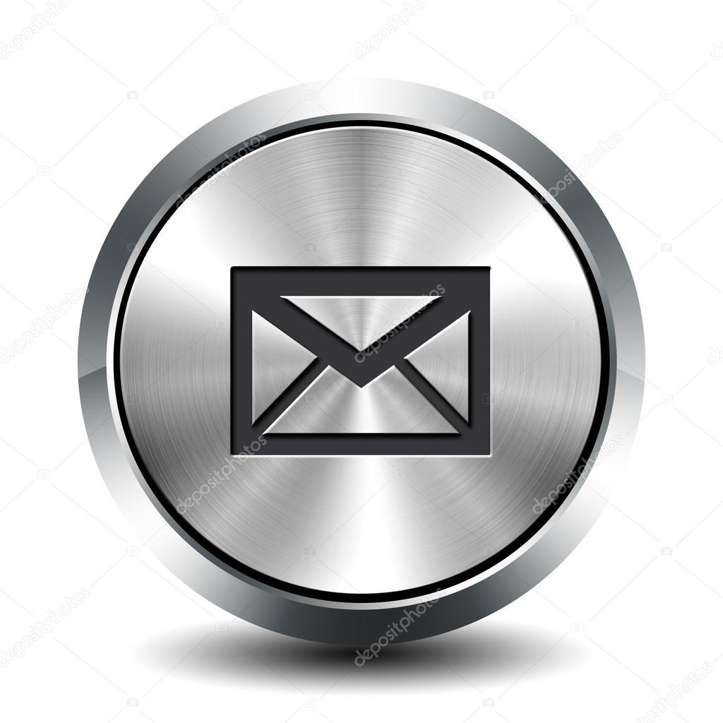 圆形的金属按钮-电子邮件