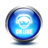 Blu glass button - on line — Stock Photo