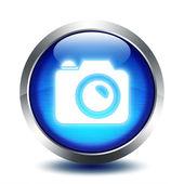 Blu glass button - photo gallery — Stock Photo