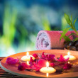 Stock Photo: Dish spa with floating candles, orchid, bambu towel in garden