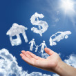 Dreams in the sky: car,home,money and family — Stock Photo