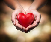 Heart in heart hands- warm background — Stock Photo