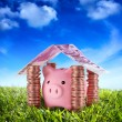 Put your savings safe - Piggybank in the home of Savings under the serenity sky — 图库照片
