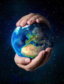 Images NASA - focus on Europe - earth in the hands — Stock Photo