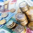 Euro money stacks and bills  — Stockfoto