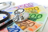 European currency sick concept: stethoscope on euro banknotes — Stock Photo
