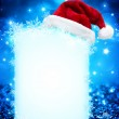 Blue board with Santa Claus's Hat - for background christmas — Stock Photo