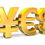 Yes - Yen, Euro, Dollar gold icons — Stock Photo #40924601