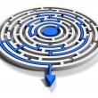 Foto Stock: Round labyrinth with blue arrow output down