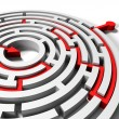 Solved round labyrinth with red arrow in goal — Stock Photo #40924715