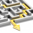 Solved labyrinth with gold arrow — Stock Photo