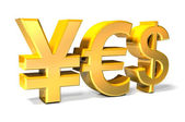 Yes - Yen, Euro, Dollar gold icons — Stock Photo