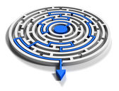 Round labyrinth with blue arrow output down — Stock Photo