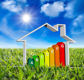 House with energy classes - on green meadow and sun in blue sky — Stock Photo