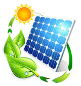 Photovoltaic concept - panel leaves and sun — Vetorial Stock