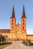 Picture of the Michaelsberg in the setting sun in the world culture heritage city of Bamberg, shot in early August on a warm evening — Stock Photo
