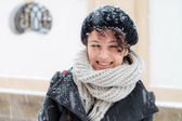 Young Italian female student, on a snowy December day — Stock Photo